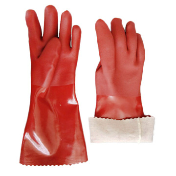 Brown sandy finish triple dipped pvc gloves