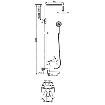 Mixer Rainfall Head Diverter System 3 Functions