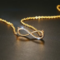 Stainless Steel 14k Gold Infinity Diamond Necklace