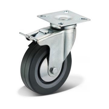12 Series PVC Flat Bottom Double Brake Casters