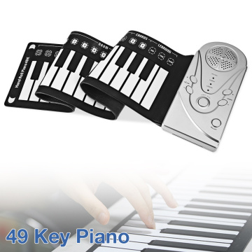 49 Keys Electronic Portable Flexible Silicone Hand Roll Up Piano Built-in Speaker Children Toys Keyboard Organ