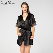 Fashion lingerie women sexy black satin night dress