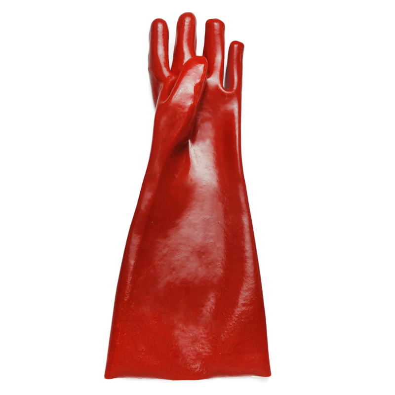 Red PVC coated gloves cotton linning 16''