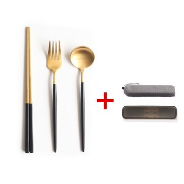 Matte Gold Cutlery Travel Cutlery Set With Case