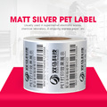 Waterproof glossy silver blank PET adhesive thermal label