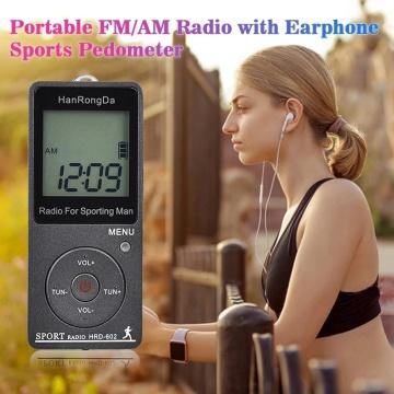 HRD-602 Portable Radio Receiver FM/AM Radio LCD Display Lock Button Pocket Radio with Earphone Sports Peeter