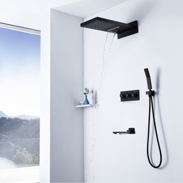 Hot Cold Shower Valve Black Bathroom Shower Faucet