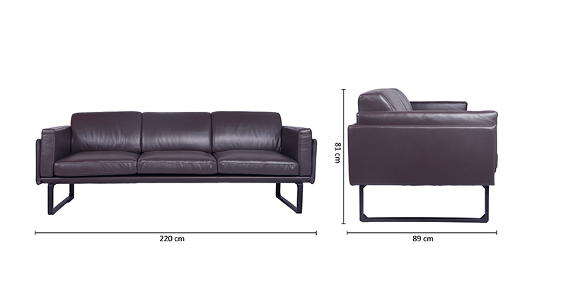 Size-of-Cassina-Sofa-Dark-Brown-Leather