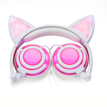 Light And Comfortable Glowing Cat Ear Wired Headphones