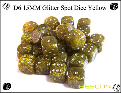 D6 15MM Glitter Spot Dice Yellow