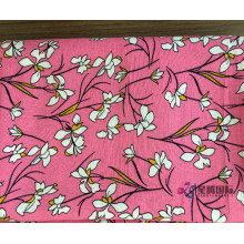 Rayon Printed Fabric With White Flower Pattern