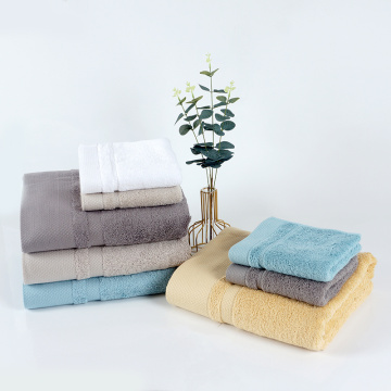 high quality plain color satin thick towel set