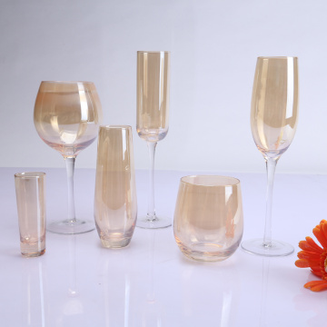 Colored Spraying High Stem And Stemless Wine Glasses