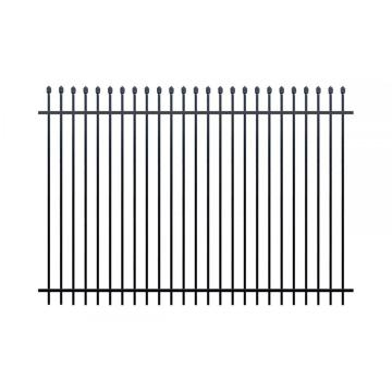 white curved wrought iron fence