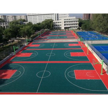 Multi-use colorful interlocking basketball court tiles