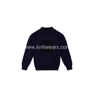 Boy's Knitted Jacquard Mock-Neck Pullover