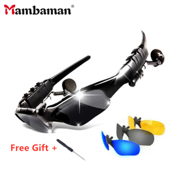 Mambaman Sport Stereo Wireless Bluetooth 4.1 Headset Telephone Driving Sunglasses/mp3 Riding Eyes Glasses With colorful Sun lens