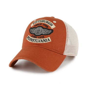 Custom logo Felt patch washed trucker hat