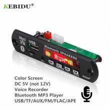 KEBIDU 5V Bluetooth MP3 Player Decoder Board Color Screen for Car Kit FM Radio TF USB 3.5mm AUX Audio Module Record Hands-free