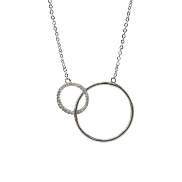Silver Double Circle Necklace with Cubic Zirconia