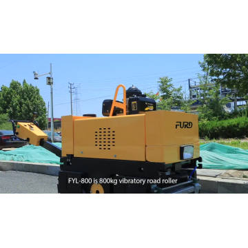Hand push double drum vibrator road roller compactor