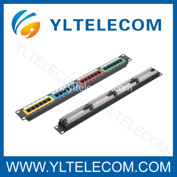 1U 19inch 24port(4*6) Colour Patch Panel Cat.5e and Cat.6 type