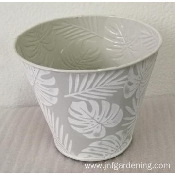Textured metal round bucket
