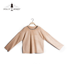 Oem Service Custom Women's Suede Long Sleeve Top Clothing