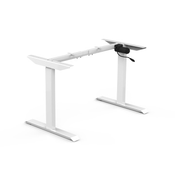 White Electric Sit Stand Desk Frame Single Motor