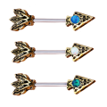 Opal Gem Spike Straight Barbell Tragus Bar