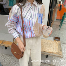 Autumn youth fashion casual temperament striped blouse