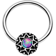 Purple Faux Opal Steel Ornate Star Rings