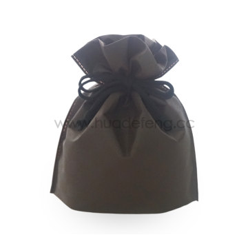Non-woven Brown Checkered Pattern  Drawstring Gift Bag