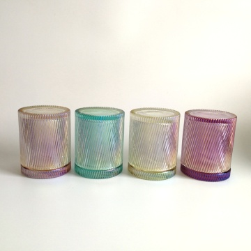 Rainbowl color swirled shape galss jar for candle