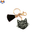 Metal Custom Black Enamel Cat Keychain