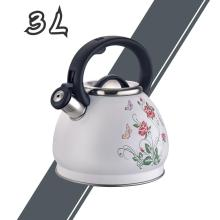 White Flower Pattern Stainless Steel Whistling Tea Kettle