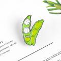 Green Pea pod enamel pin Cute small cat brooch Broad bean baby Lapel pin badge Cartoon animal Clothes bag jewelry gift for kids