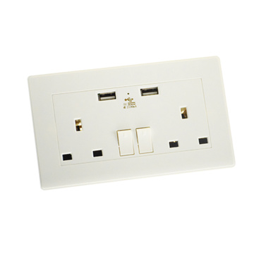 Dual UK USB Wall Socket With Surge Protection