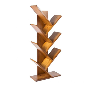 7 Shelf Tree Bookcase Bamboo Bookshelf Hard Wood Display Rack Storage Organizer for CDs & Books, Oak Red