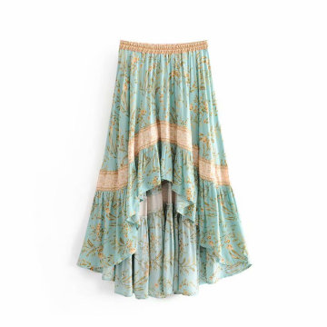 women light green skirt cake skirt Irregular dress