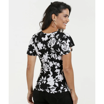 O-Neck Casual Floral Blouses Elegant Tops