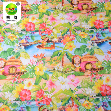 Digital printing cotton nylon spandex poplin fabric