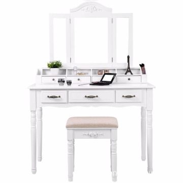 Three Mirrored Simple Dressing Table 7 Drawers 6 Organizers dresser makeup table