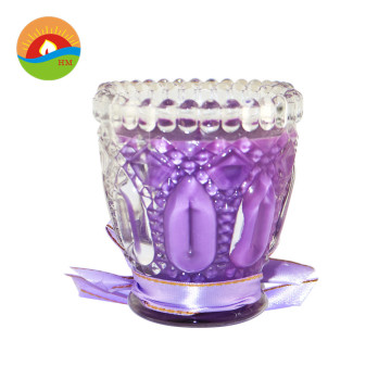 multi colored glass cup decorative candle with lid