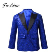 FEESHOW Boys Blazer Kids Suits Stylish Sequins Lapel Suit Boy Jacket Coat Blazer Tuxedo for Wedding Banquet Party Birthday Suit