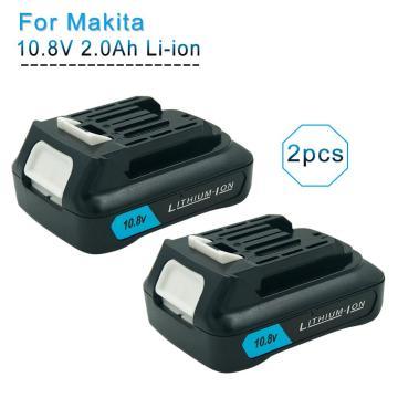 2PCS 10.8V 12V Max 2.0Ah Li-ion Replacement Rechargeable Battery for Makita BL1040B BL1015 BL1020B BL1041 BL1016 DF031D TD110D