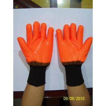 Orange PVC coated winter gloves