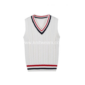 Boy's Knitted Stripe Rib Cable Front School Vest