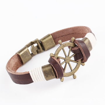 Alloy Charm Leather Wristbands Wrapped Leather Cuff Bracelet