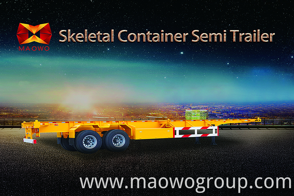 skeletal container semi trailer